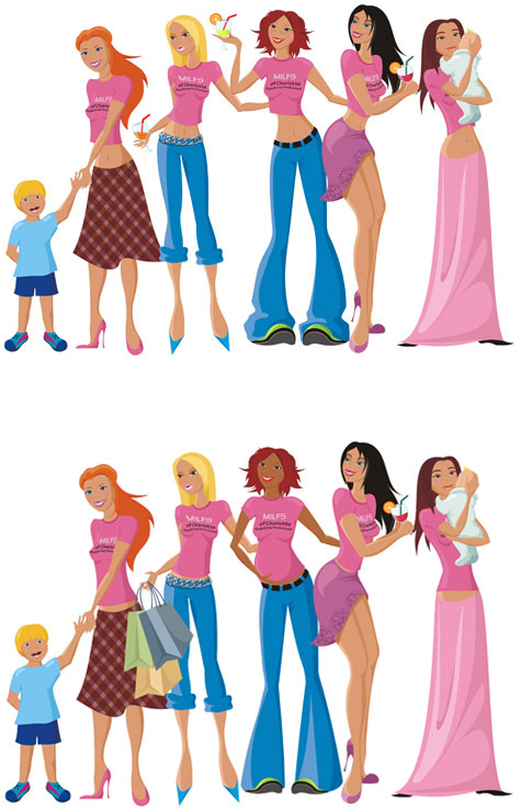 Profesional cartoon illustration for a mom's group website.