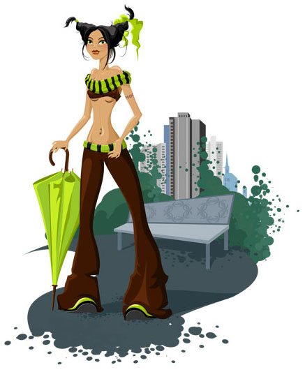 Vector colourfull illustration of girl with umbrella with urban background.